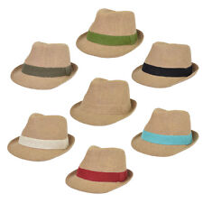 Classic One Size Burlap Style Tan Fedora Straw Hat  - Diff Color Band Avail