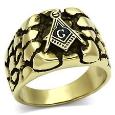 Stainless Steel Nugget Mason Masonic Freemason Lodge Square Gold GP Ring