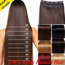 """Deluxe 18-20-22-24"""" Clip In Remy Human Hair Extensions One Piece DIY WEFT N601"""