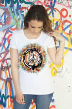 Womens Peace T Shirt Military CND Dye Peace logo Retro and Hippy - Antiwar Sign