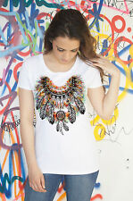 Womens White T-Shirt Tribal Red Indian Native American Feathers Culture TSP12