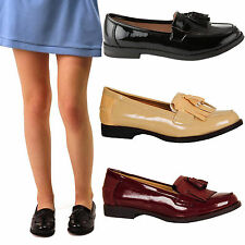 WOMENS LADIES CASUAL FLAT WORK SCHOOL OFFICE TASSEL LOAFERS SHOES PUMPS SIZE