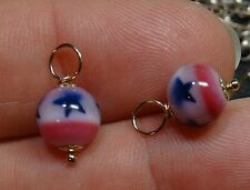 8mm PATRIOTIC Stars & Stripes INTERCHANGEABLE Earring Charms ROSE or YG