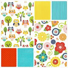 RILEY BLAKE/MICHAEL MILLER FAT QUARTERS LAZY DAY OWLS FLORALS CO-ORDINATES