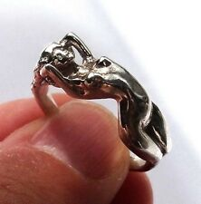 Sterling Silver Ring EROTIC NUDE GIRL, Adult naked lady ring, Nude woman ring