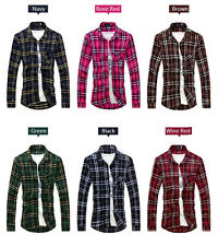 New Mens Plaid Shirts Luxury Casual Slim Fit Stylish Dress Shirts Long Sleeve G
