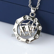 Fashion Silver No Stone Charm Bull Necklace Pendant 18KGP