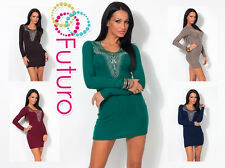 Party Cocktail Mini Dress Long Sleeve Bodycon Sequined Tunic Sizes 8-12 FC60