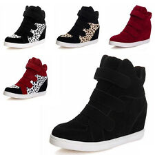 FASHION Women Velcro Strap Hidden Heel High Top Sneakers Ankle Wedge Shoes Boots