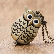 New Cute Silver/Bronze Night Owl Necklace Retro Quartz Pocket Watch Kid's Gift