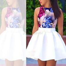New Womens Flared Short Skater Mini Skirt Ladies Causal Party A Line Shirt White