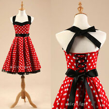 Women Polka dot Vintage Rockabilly 50s 60s Swing Prom Party Dress Underskirt Red