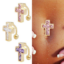 Reverse Crystal Bar Belly Ring 18K Gold Plated Cross Body Piercing Button Navel