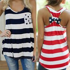 Summer Stripe Back Bow Vest Sleeveless Blouse Casual Tank Camisole Top Shirt HM