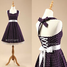 Women Polka dot Vintage Rockabilly 50s Prom Party Swing Dress Petticoat - Purple