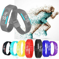 Ultra Thin Mens Watch LED Womens Bracelet Sports Digital Rubber WristWatch Gift