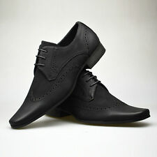 Mens Leather Suede Shoes Black Smart Lace Up Formal Dress Size UK 6 7 8 9 10 11