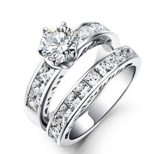 2PC CHANNEL-SET CZ STERLING SILVER WEDDING RING SET WOMEN'S SIZE 7 SS11921