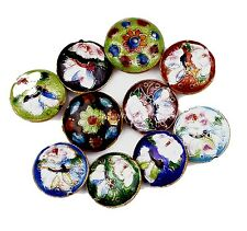 Hot  Fashion 21mm Great Equisite Coin RoundCloisonne Beads Spacer Various 10pcs