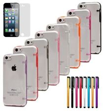 Luminous Glow Clear Transparent Back Cover Case for iPhone 5C + Stylus + Film