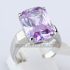 Solitaire Simulated Amethyst Fashion Ring 18KGP CZ Rhinestone Crystal Size 6