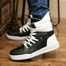 Mens Casual Leather High Top Loafers Ankle Boots Suede Sneakers Warm Shoes R24