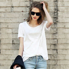 Fashion Summer Women short Sleeve T-shirts Casual Cotton Shirt Blouse Tops T0106