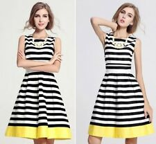 Sexy Women's Striped Summer Sleeveless Evening Party Cocktail Casual Short Dress