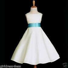 IVORY/AQUA POOL WEDDING BRIDESMAID FLOWER GIRL DRESS 12-18M 2 4 6 8 10 12 14 16
