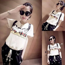 2015 Newly Summer Casual Womens Cartoon Mickey Mouse T-shirt Short Sleeve Top