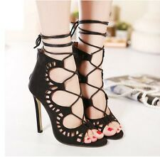 Sexy Lace Up Hollow Out Stiletto Pumps Ladies Shoes Womens High Heels Sandals