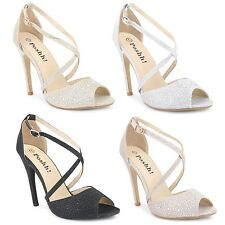 Womens Ladies Evening Party Wedding Bridal Sandals High Heel Diamante Shoes Size