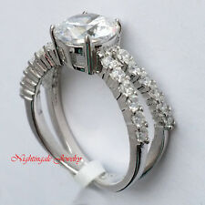 925 Sterling Silver Solitaire w/Accents Round Cut Cubic Zirconia Engagement Ring