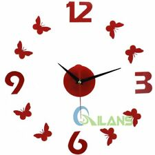 DIY Wall Clock Butterfly Numbers Stickers Watch Silent Clocks Home Deocor