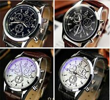 New Fashion Men's Leather Stainless Steel Sport Military Quartz Wrist Watch