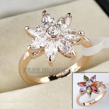A1-R3094 Simulated Gemstone Flower Fashion Ring 18KGP Swarovski Crystal