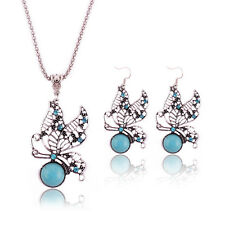 Butterfly Crystal Round Turquoise Tibet Silver Hook Earring Pendant Necklace Set
