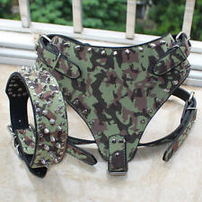 Camouflage Leather Dog Harness+Collar SET Spiked Pitbull Mastiff Husky Boxer
