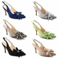 New Women Stiletto Sandals Ladies Slingback High Heel Bow Court Shoes Size 3-8