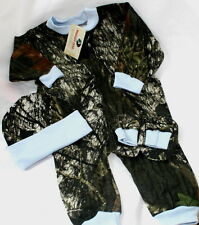 MOSSY OAK CAMOUFLAGE BLUE BABY SLEEPER SET BOOTIES, INFANT CAMO CLOTHES, CREEPER