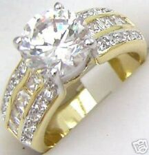 18K GOLD EP 4.0CT DIAMOND SIMULATED ENGAGEMENT RING sizes 5-12 u choose the size