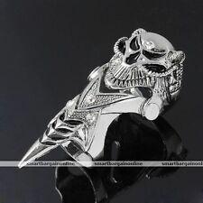 Men Crystal Skull Head Metal Full Finger Armour Knuckle Double Ring Punk Jewelry