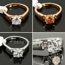 Fashion Solitaire Engagement Wedding Ring 18KGP CZ Rhinestone Crystal Size 5.5-9