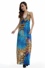 Blue Palm Leaf & Leopard Print Halter Sexy Summer/Spring Maxi Long Dress #2886