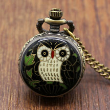 New Popular Cute Big Owl Black&Blue Necklace Chain Quartz Pocket Watch Unisex