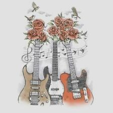 Music T Shirt Rock and Roses Gothic Guitar String Birds Play Notes Tattoo Biker