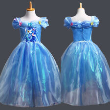 2015 Pretty Cinderella Dress Blue Princess Gown Colorful Butterfly Girls Dresses