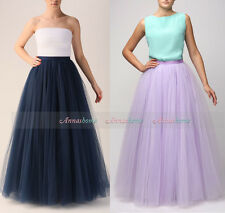 Navy Blue Maxi Women Tulle Skirts Tutu  Ball Gown Long Skirts Wedding Petticoat