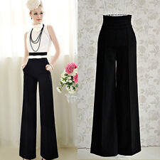 Casual Women Long Pants High Waist Flare Wide Leg Pants Palazzo Career Trousers