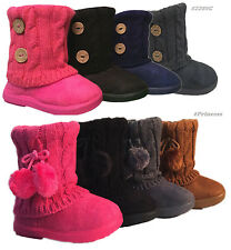 New Infant Toddler Girls Winter Casual Faux Fur Suede Button Boots Shoes USA